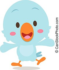 Happy blue bird cartoon illustration