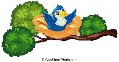 Happy blue bird on the nest