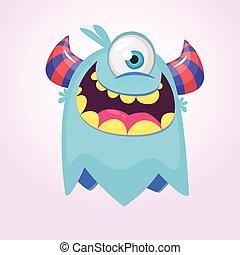 Happy blue cartoon monster. Funny monster face emotion. Halloween vector illustration