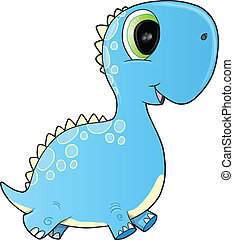 Happy Blue Dinosaur Vector Art