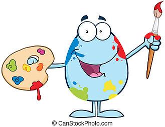 Happy Blue Easter Egg Painter
