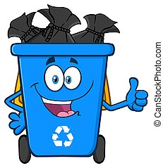 Happy Blue Recycle Bin Cartoon Mascot Character Full With Garbage Bags Giving A Thumb Up