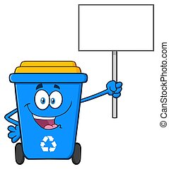 Happy Blue Recycle Bin Cartoon Mascot Character Holding Up A Blank Sign