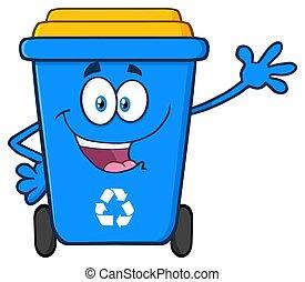 Happy Blue Recycle Bin Cartoon Mascot Character Waving For Greeting