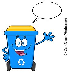 Happy Blue Recycle Bin Cartoon Mascot Character Waving For Greeting With Speech Bubble