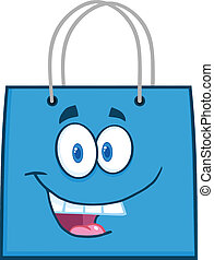 Happy Blue Shopping Bag