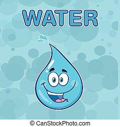 Happy Blue Water Drop Cartoon Mascot Character