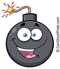 Happy Bomb Face Cartoon Mascot Character With Expressions
