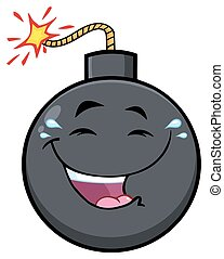 Happy Bomb Face Cartoon Mascot Character With Smiling Expressions
