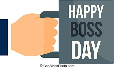 Happy boss day cup icon, flat style