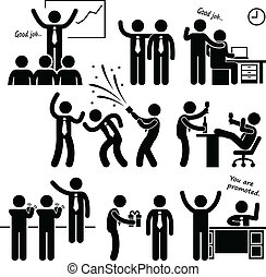 A set of human pictogram representing a happy boss rewarding his employees.