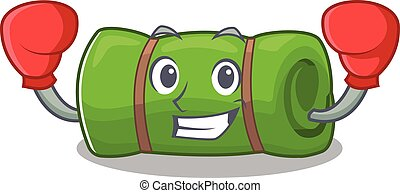 Happy Boxing camping mat Scroll mascot character style....