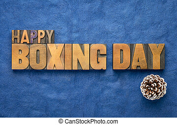 Happy Boxing Day word abstract in wood type