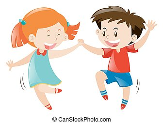 Happy boy and girl dancing
