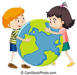 Happy boy and girl hugging big world on white background