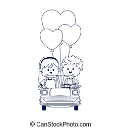 Happy boy and girl in a classic car with heart balloons, flat design