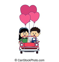 Happy boy and girl in a classic car with heart balloons