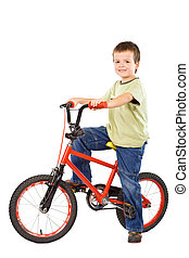 Happy boy and his beloved bike - Happy boy with his red...