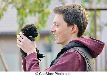 Happy Boy and  puppy dog