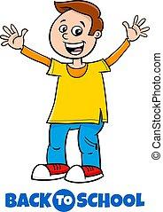 happy boy back to school cartoon illustration