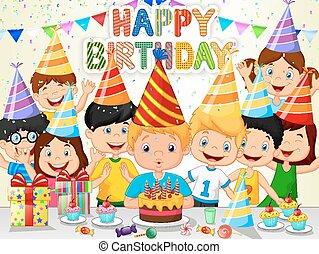 Happy boy cartoon blowing birthday - Vector illustration of...