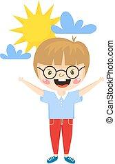Happy boy cartoon vector illustration.