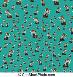 Happy boy child seamless pattern young male dressed like grown man character vector illustration