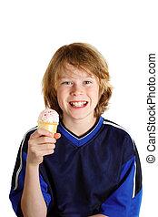 Happy Boy eating ice cream