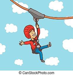 Happy boy enjoying a zipline - Cartoon illustration of happy...