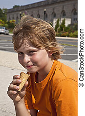 boy enjoys ice cream