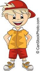 Happy boy hands on hips cartoon vector illustration
