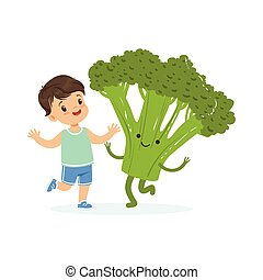 Happy boy having fun with fresh smiling broccoli vegetable, healthy food for kids colorful characters vector Illustration