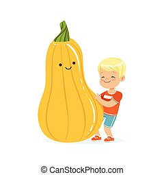 Happy boy having fun with fresh smiling zucchini vegetable, healthy food for kids colorful characters vector Illustration