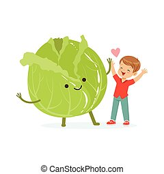 Happy boy having fun with fresh smiling cabbage vegetable, healthy food for kids colorful characters vector Illustration