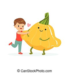 Happy boy having fun with fresh smiling squash vegetable, healthy food for kids colorful characters vector Illustration