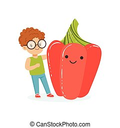 Happy boy having fun with fresh smiling sweet red pepper vegetable, healthy food for kids colorful characters vector Illustration