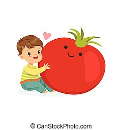 Happy boy having fun with fresh smiling tomato vegetable, healthy food for kids colorful characters vector Illustration