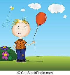 Happy boy holding a balloon