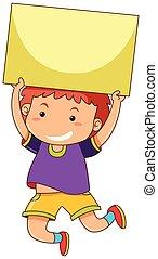 Happy boy holding blank card