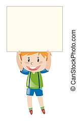 Happy boy holding blank paper