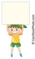 Happy boy holding blank sign