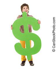 Happy Boy Holding Dollar Sign