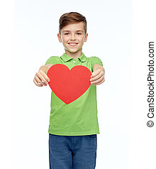 happy boy holding red heart shape