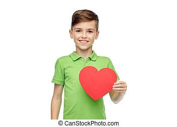 happy boy holding red heart shape - childhood, love,...