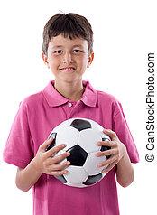 Happy boy holding soccer ball