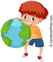 Happy boy holding the earth on white background
