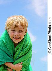 Happy Boy in Beach Towel