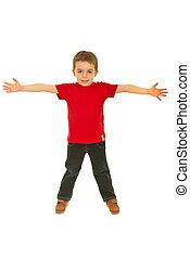 Happy boy in blank red t-shirt