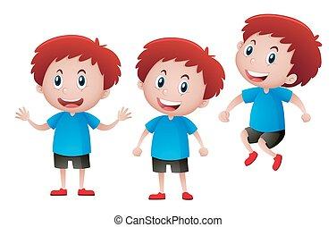 Happy boy in blue shirt illustration