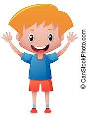 Happy boy in blue shirt waving hands illustration